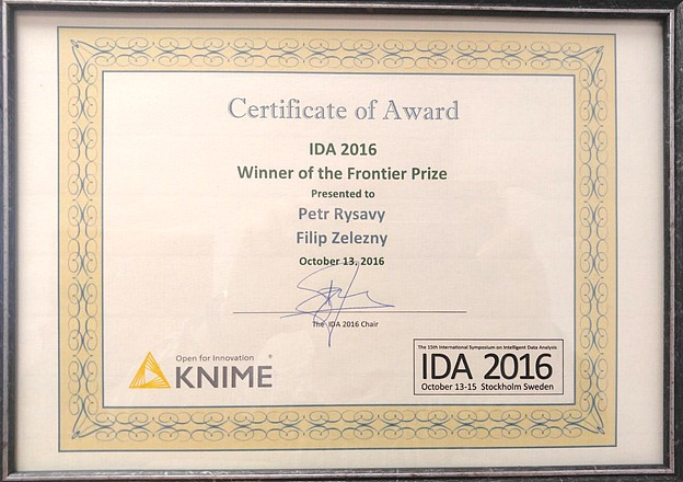 Frontier Prize for the best paper at the IDA 2016 Symposium